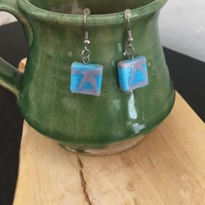 Blue square earrings with artsy detail